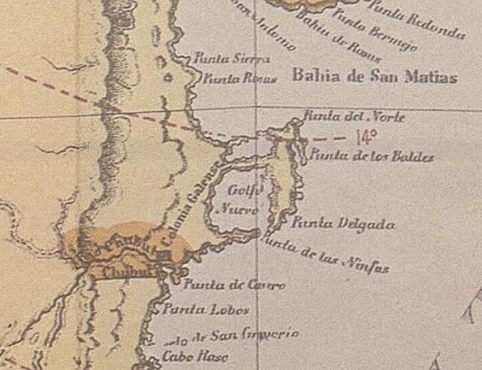 Mapa antiguo de Península Valdés