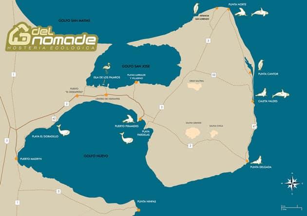 Karte der Halbinsel Valdés