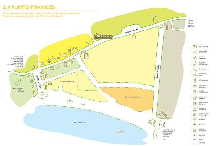 mapa de Puerto Pirámides en Península Valdés