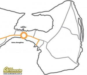 Mapa: Museu Istmo Ameghino área de interpretação