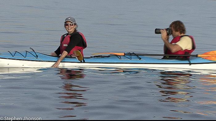 Falschen Orcas kajakten Halbinsel Valdes