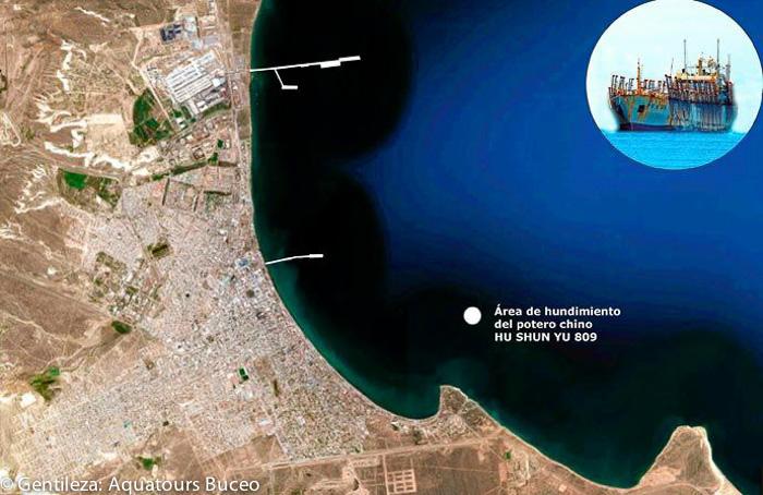 Zona de hundimiento del barco Chino en Puerto Madryn