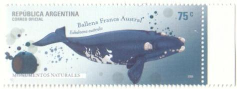 Estampilla de la ballena Valdes Peninsula