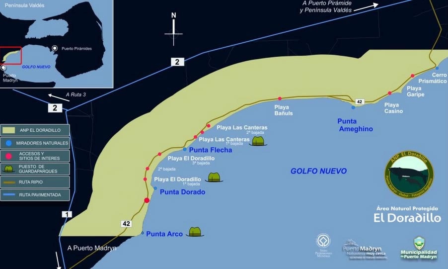 whale watching Maps Puerto Madryn . El Doradillo