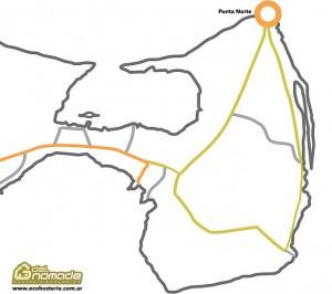 Mapa Punta Norte - Orcas en Península Valdes